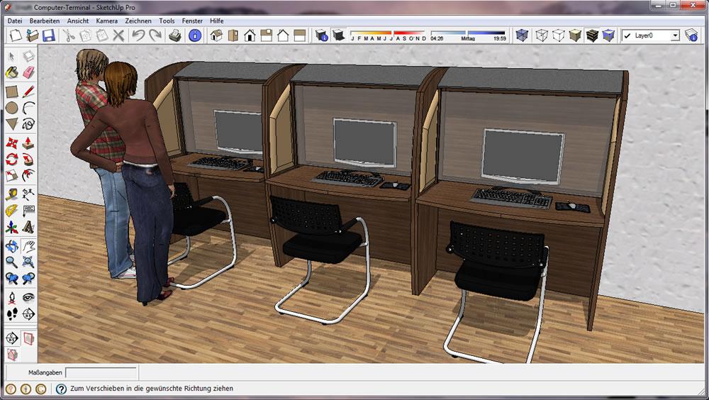 sketchup 7 die ersten schritte mit dem kostenlosen 3d zeichenprogramm vom google m. Black Bedroom Furniture Sets. Home Design Ideas