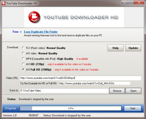 YouTube Downloader - Programm Fenster