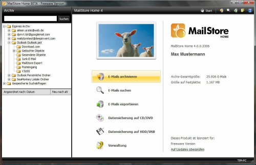 MailStore Home Startbildschirm