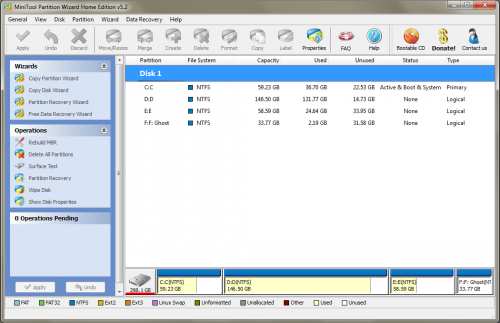 Partition Wizard Home Edition 5.2