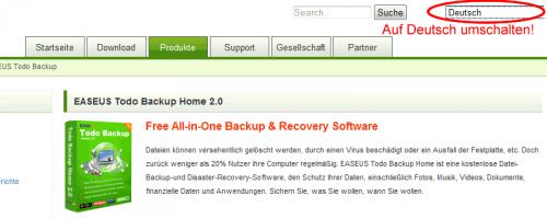 """Webseite auf """"Deutsch"""" umschalten!"""