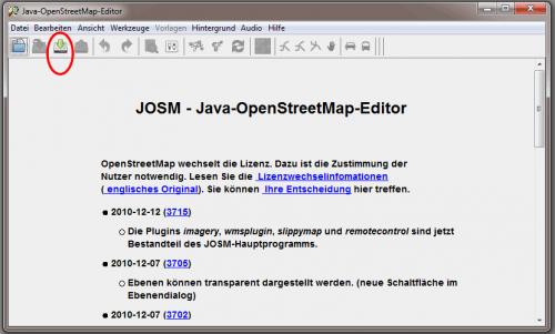 JOSM Startbildschirm