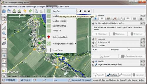 JOSM mit Daten und Sat-Hintergrund