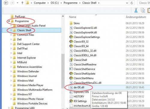 """Zum Ordner C: Programme\Classic Shell  navigieren und hier in das Classic Shell Hauptverzeichnis die Datei """"de-DE.dll"""" einfügen."""