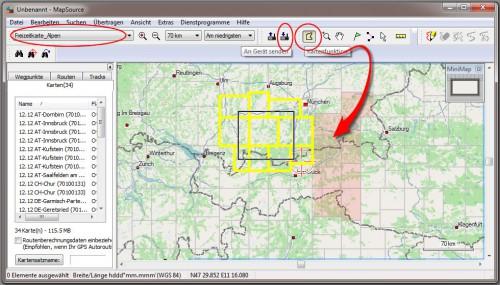 MapSource Kartenauswahl