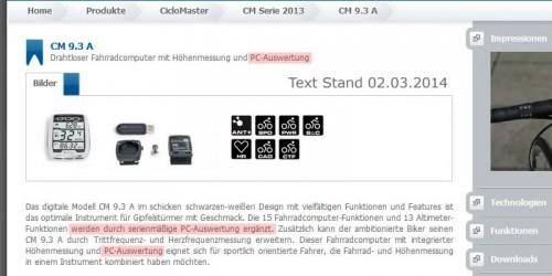 Mogelpackung - Screendump der Produktbeschreibung - Stand 02.03.2014